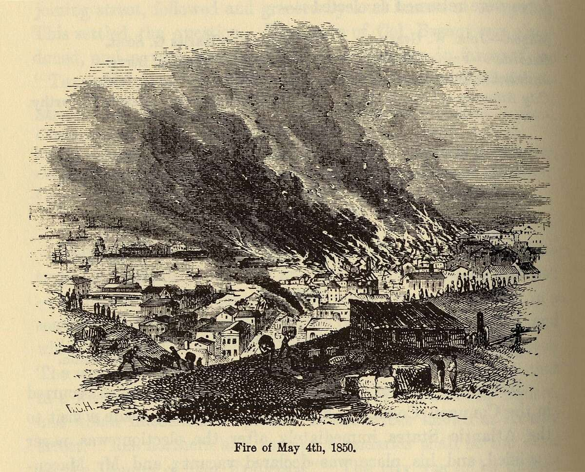 """An illustration of the San Francisco fire of May 4, 1850, from """"The Annals of San Francisco."""""""