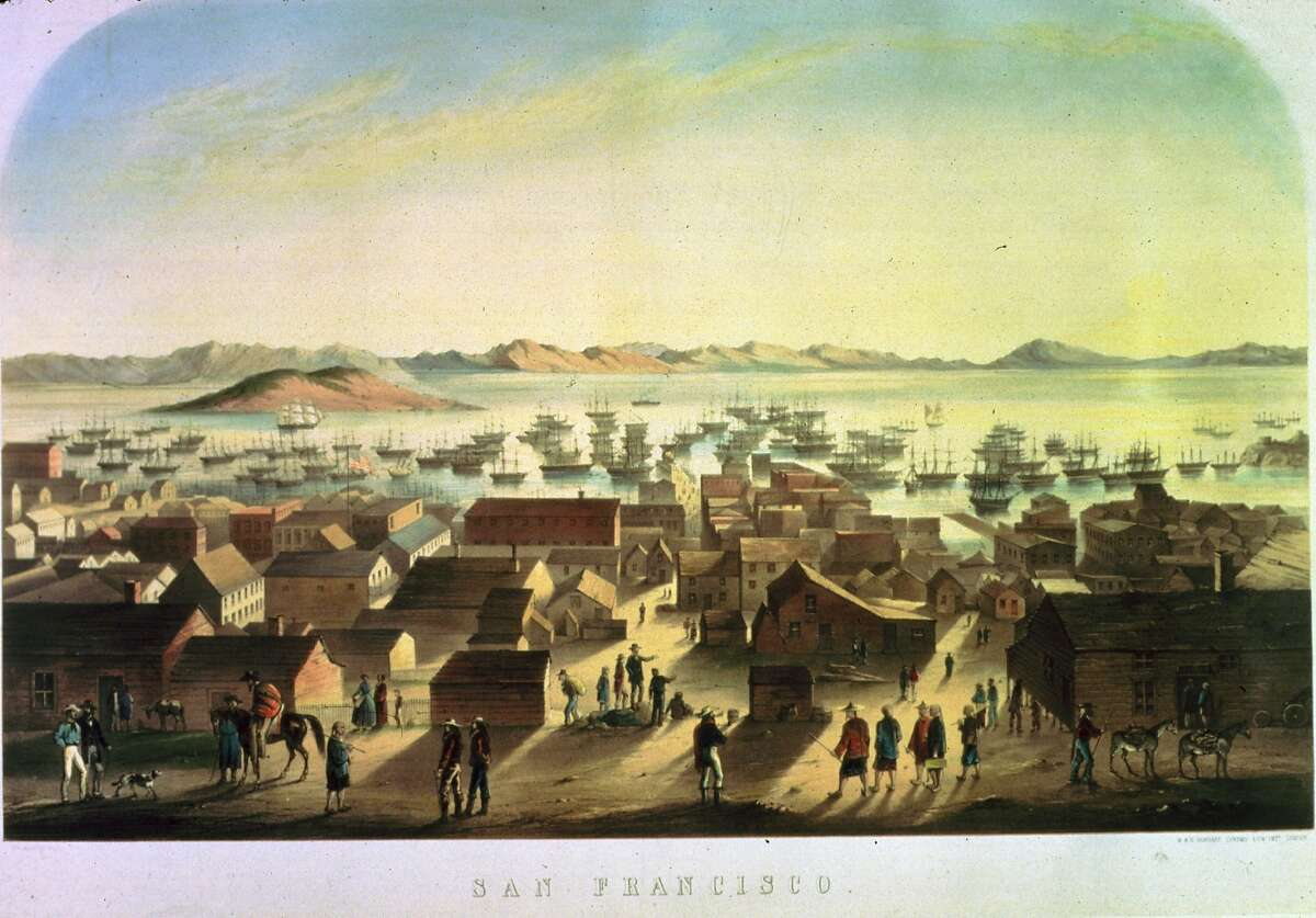 Boats on the San Francisco waterfront in 1849, depicted in a lithograph.