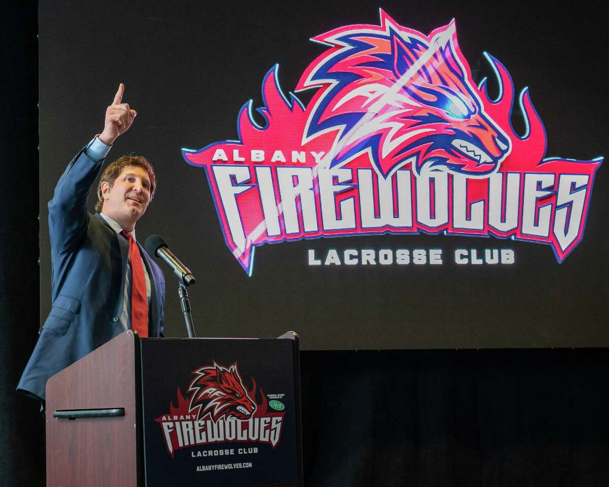 Albany Firewolves owner and CEO Oliver Marti speaks during a press conference announcing the team's new name and logo at the Times Union Center, in Albany, NY, on Thursday, April 15, 2021 (Jim Franco/Special to the Times Union)