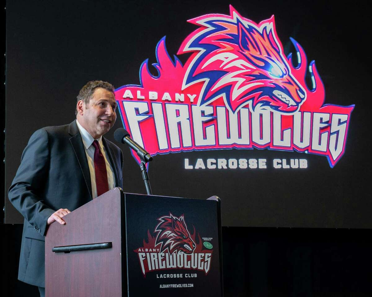Albany Firewolves President George Manias speaks during a press conference announcing the team's new name and logo at the Times Union Center, in Albany, NY, on Thursday, April 15, 2021 (Jim Franco/Special to the Times Union)
