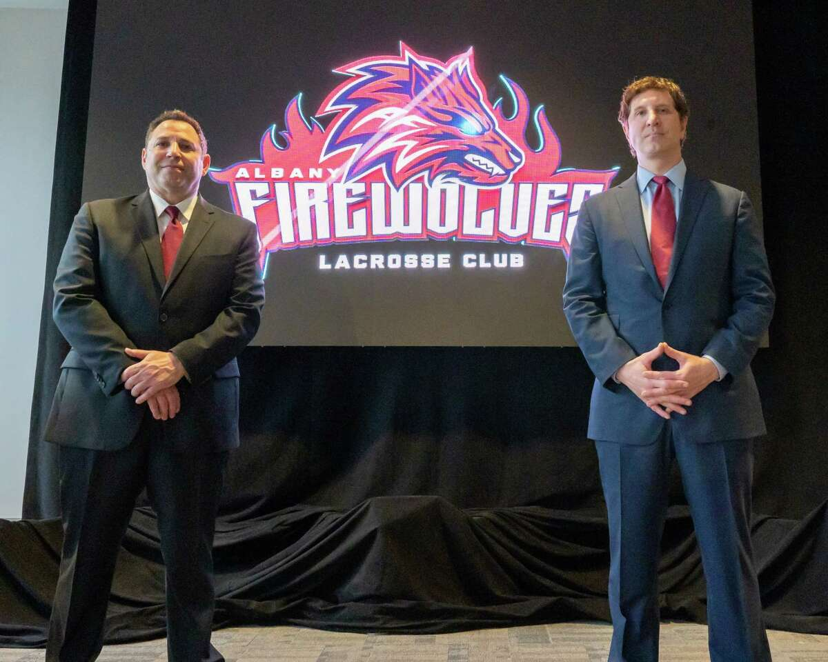 Albany Firewolves President George Manias (left) and Albany Firewolves owner and CEO Oliver Marti during a press conference announcing the team's new name and logo at the Times Union Center, in Albany, NY, on Thursday, April 15, 2021 (Jim Franco/Special to the Times Union)