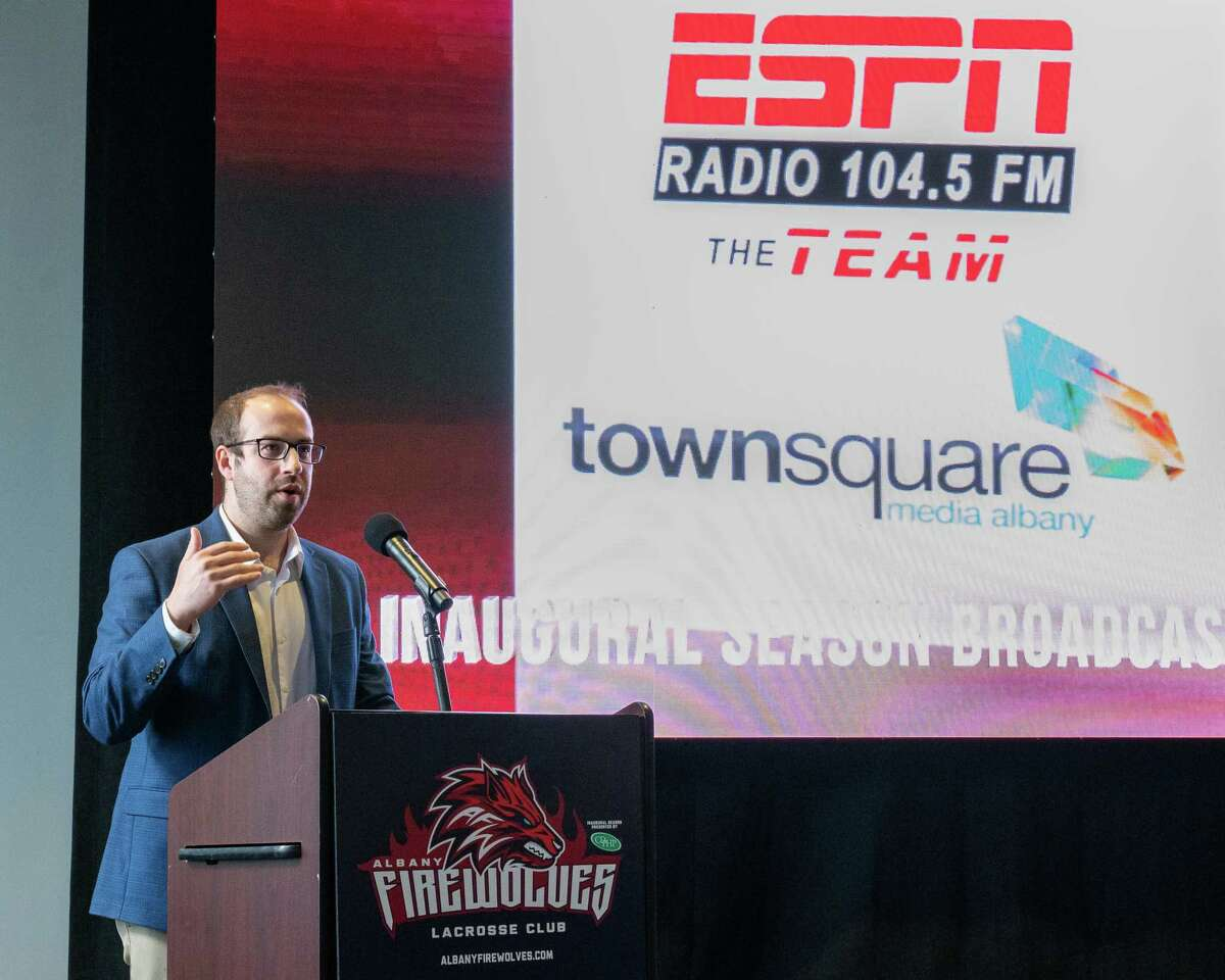 Kevin Rich, market president of Townsquare Media speaks at an event in April 2021. (Jim Franco/Special to the Times Union)