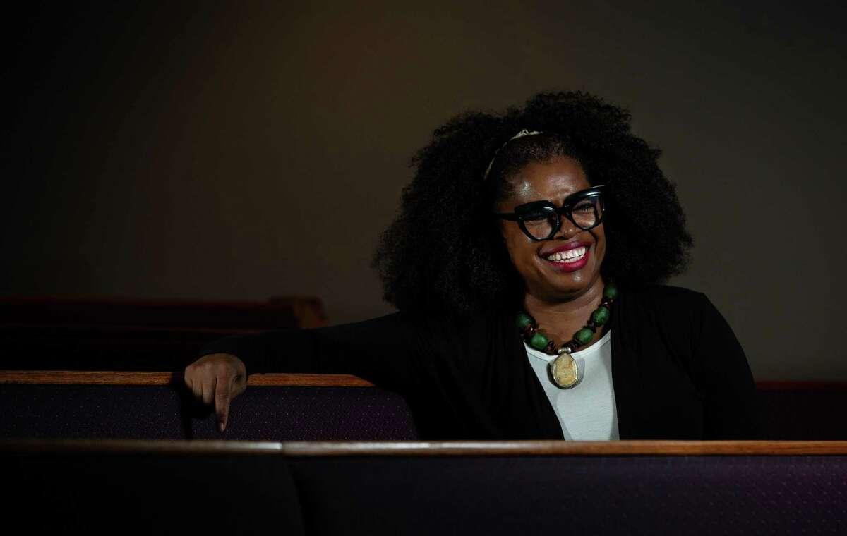 Inspirational spoken word poet Vascola Stoney compares her poems to sermons at Wheeler Avenue Baptist Church.