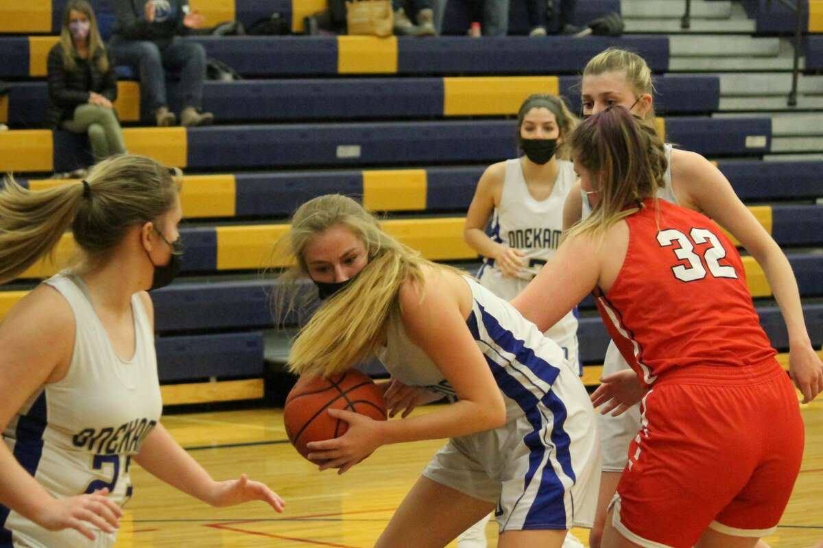 The Onekama girls basketball team went 3-12 on the season, including a Division 4 district quarterfinal victory.