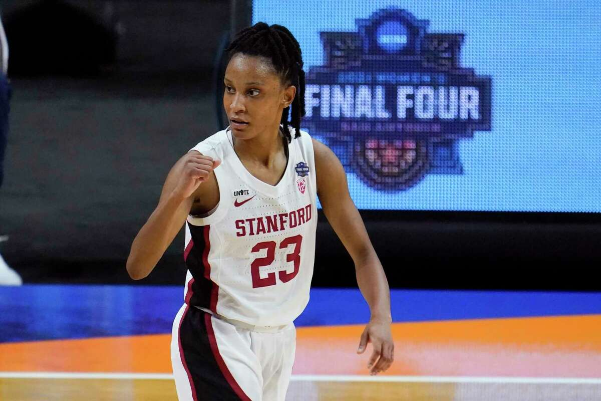 Stanford guard Kiana Williams (23) celebrates during the first half of the championship game against Arizona in the women's Final Four NCAA college basketball tournament, Sunday, April 4, 2021, at the Alamodome in San Antonio. (AP Photo/Eric Gay)
