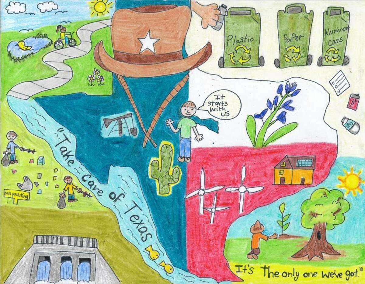 Natalia Saenz y Noel Palomo ganan las categorías de 1er y 3er grado en la competencia de arte Take Care of Texas