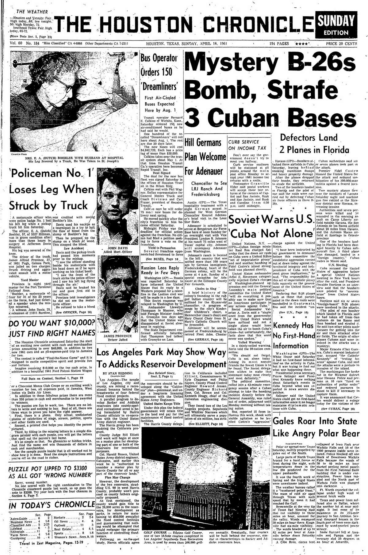 Houston Chronicle front page from April 16, 1961.