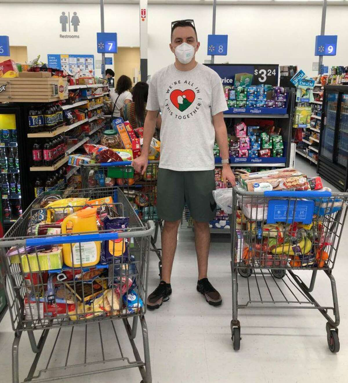 Mansfield Middle School teacher Louis Goffinet makes one of his dozens of grocery runs during the height of the pandemic.