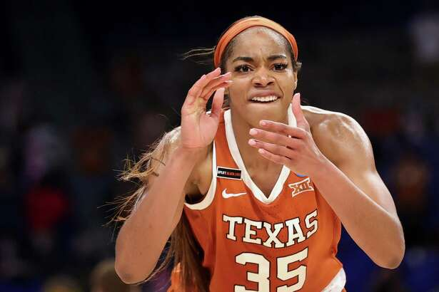 SAN ANTONIO, TEXAS - MARCH 28: Charli Collier #35 of the Texas Longhorns reacts during the second half against the Maryland Terrapins in the Sweet Sixteen round of the NCAA Women's Basketball Tournament at the Alamodome on March 28, 2021 in San Antonio, Texas.