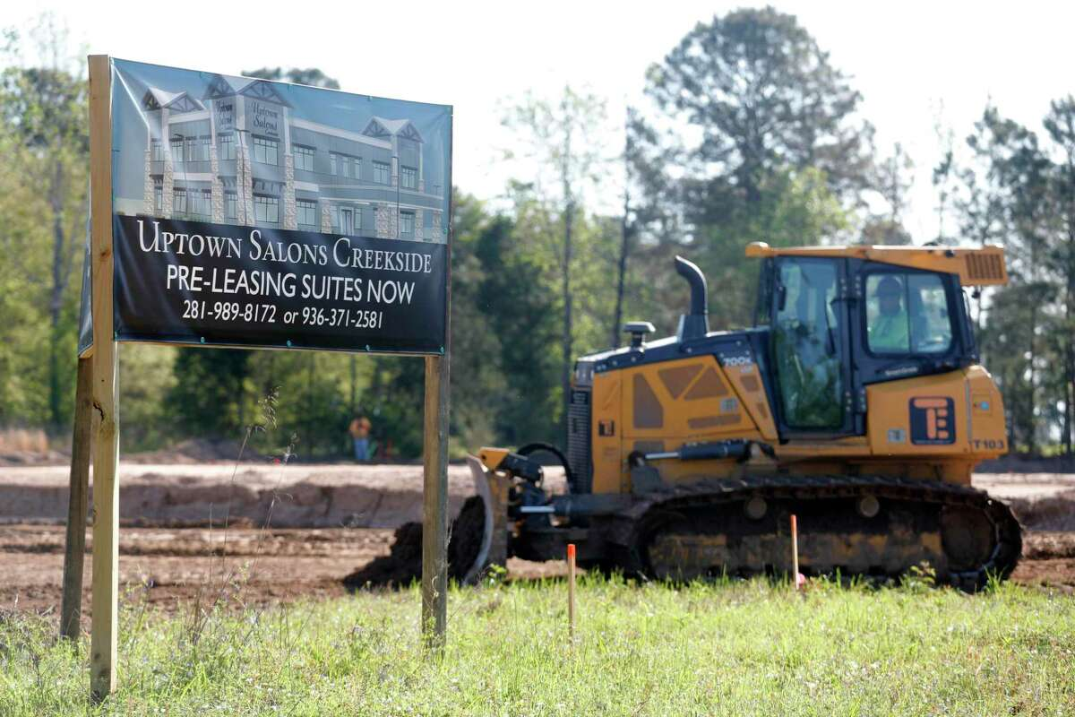 Construction continues for Uptown Salons Creekside, along Kuykendahl Road, Friday, March 26, 2021, in The Woodlands.