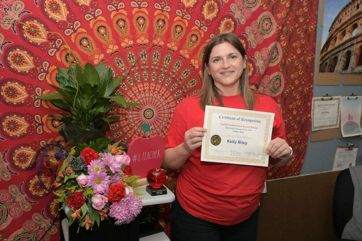 Tomball Star Academy ninth grade college readiness and speech teacher Kelly Riley was named Tomball ISD's Secondary Teacher of the Year.