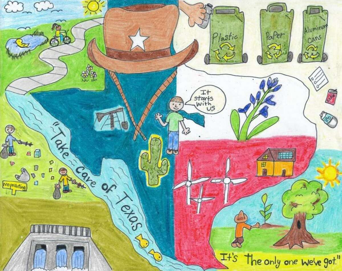 Art is shown from first- and third-grade winners Natalia Saenz and Noel Palomo, both of Laredo.