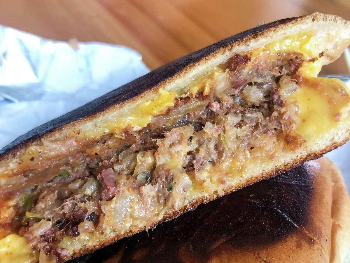 Boudin-stuffed grilled cheese sandwich at Johnson's Boucaniere in Lafayette, Louisiana