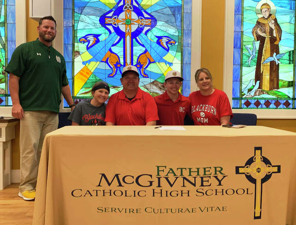 Father McGivney senior Austin Callovini, seated second from right, will play college baseball for Blackburn in Carlinville. He is joined in the picture by his family and FMCHS coach Chris Erwin.