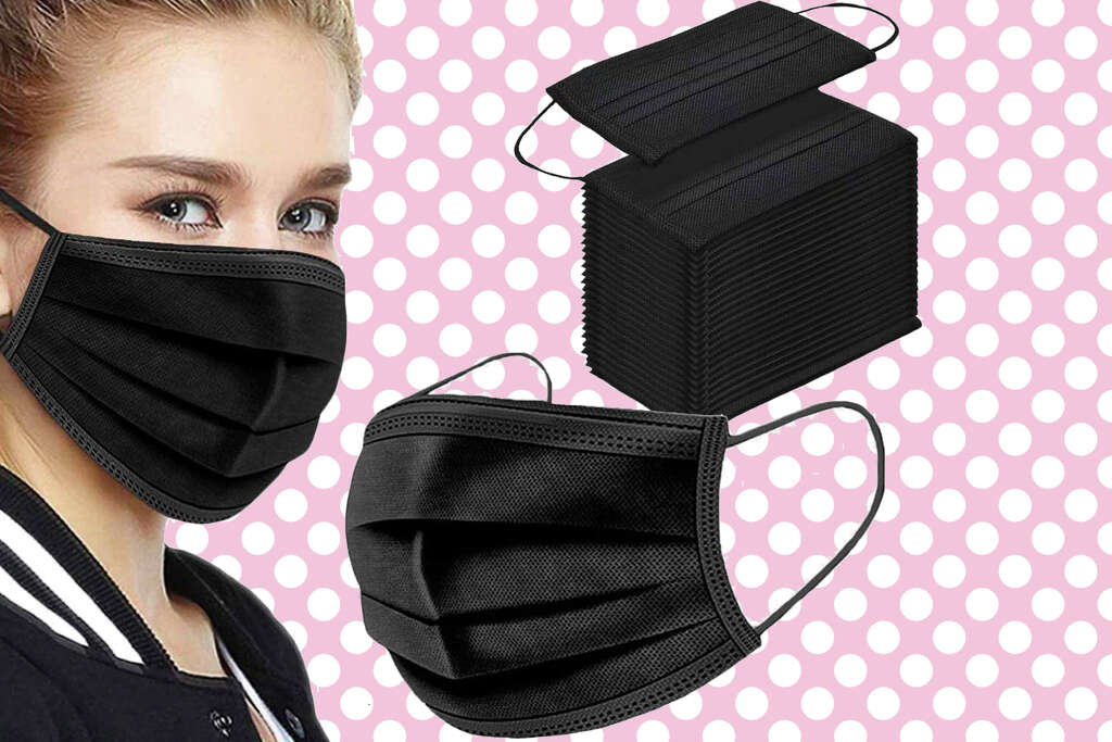Three-ply surgical style masks are $10 for 100