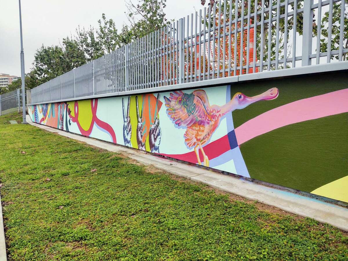 Galveston artist Gabriel Prusmack finished painting his mural on the walls of the Lee and Joe Jamail Skatepark on April 15. He paints Roseate Spoonbills in all his work,