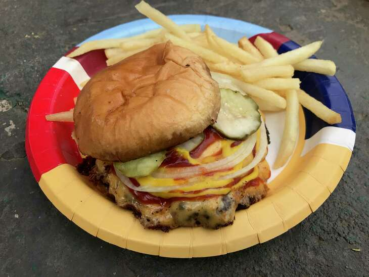 The Pumpers #1 is two beef patties and cheese on a toasted bun with mustard, ketchup, onions and pickles.