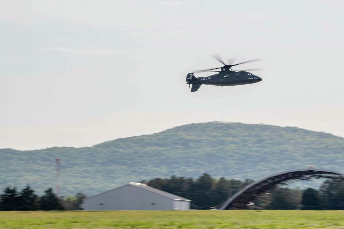 A pilot demonstrates the Sikorsky S-97 Raider helicopter's capabilities in mid-April in Huntsville, Ala., the first flights before U.S. Army staff considering the helicopter as an armed reconnaissance replacement for Bell Helicopter's OH-58 Kiowa. (Press photo via Lockheed Martin)