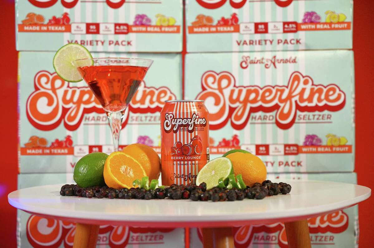 Saint Arnold Brewing's Superfine hard seltzer line includes Berry Lounge, with black currant, lime juice, lime peel and tangerine.