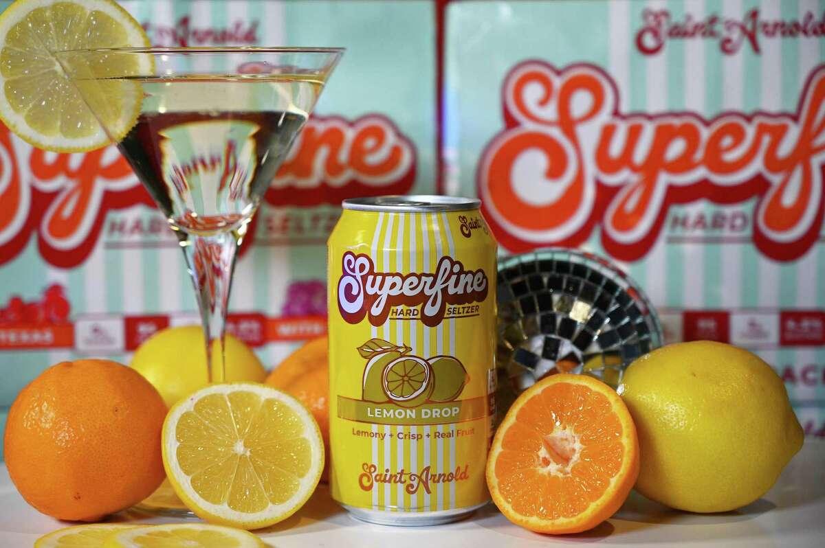 Saint Arnold Brewing's Superfine hard seltzer line includes Lemon Drop, emulating the namesake cocktail.