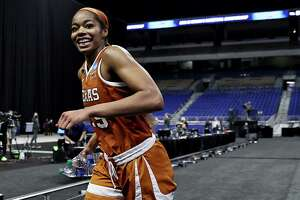 SAN ANTONIO, TEXAS - MARCH 28: Charli Collier #35 of the Texas Longhorns celebrates the win over the Maryland Terrapins during the Sweet Sixteen round of the NCAA Women's Basketball Tournament at the Alamodome on March 28, 2021 in San Antonio, Texas.The Texas Longhorns defeated the Maryland Terrapins 64-61 (Photo by Elsa/Getty Images)