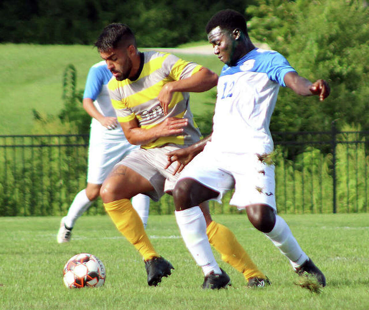 LCCC's Kofi Awuah , right, scored a goal in Thursday's 3-2 overtime loss at Illinois Central College. he is shown in action in a 2019 game.