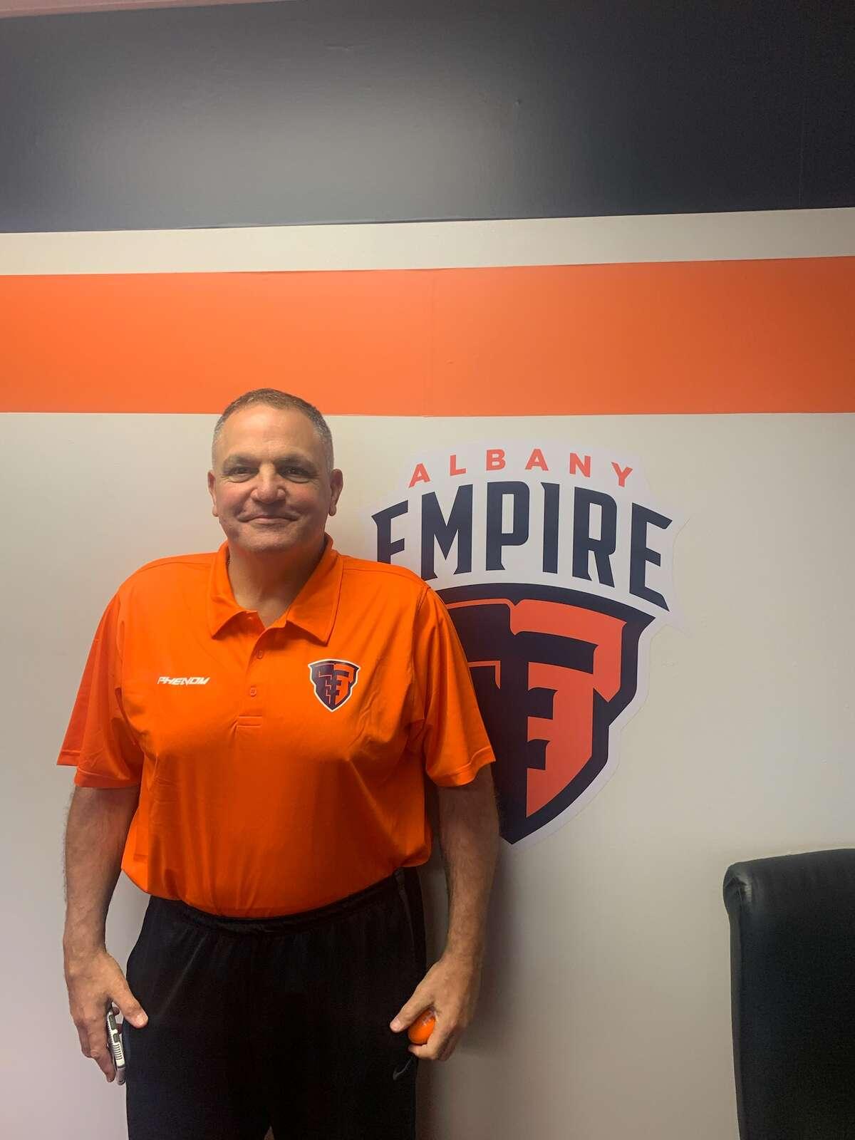 Albany Empire head coach Tom Menas, hired Friday, April 16, 2021.