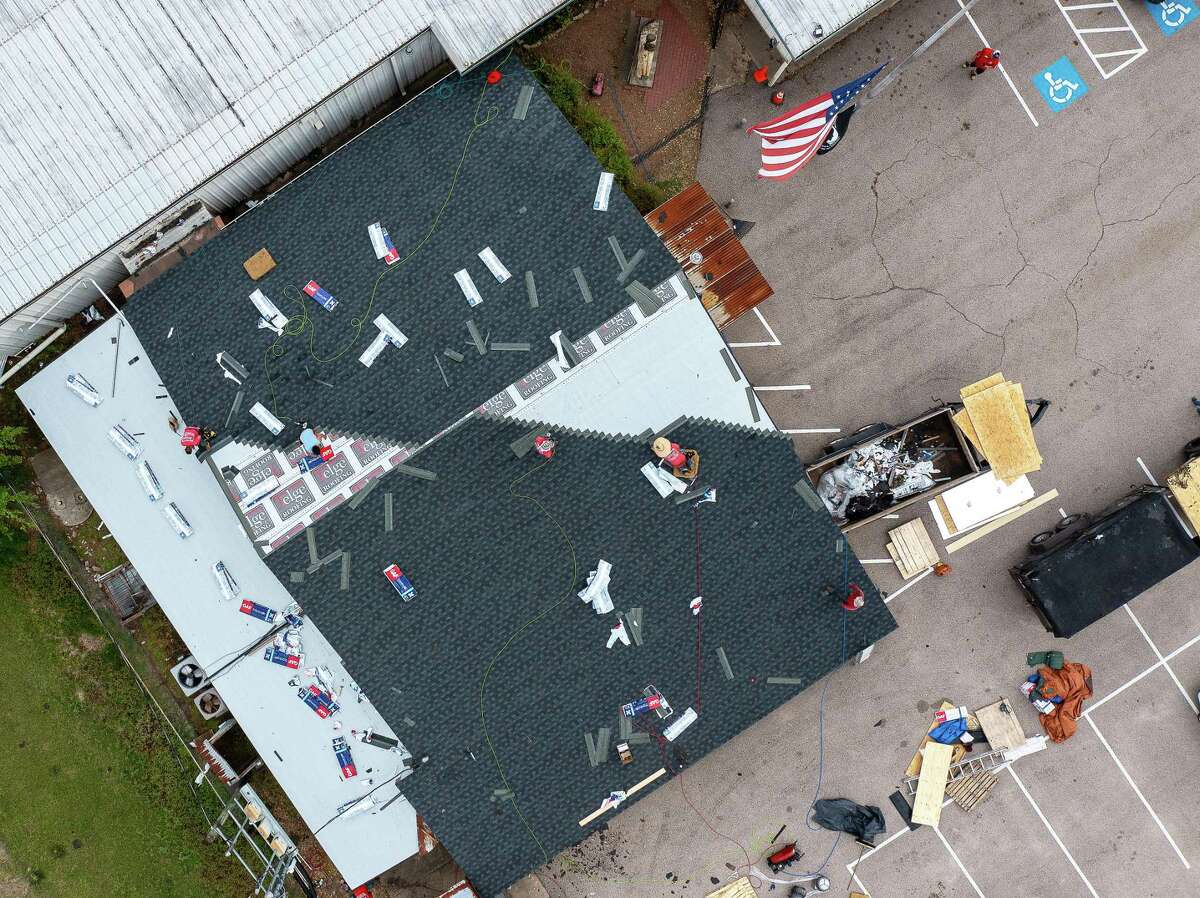 A bird's eye view from a drone shows the nearly completed roof on the original VFW building.