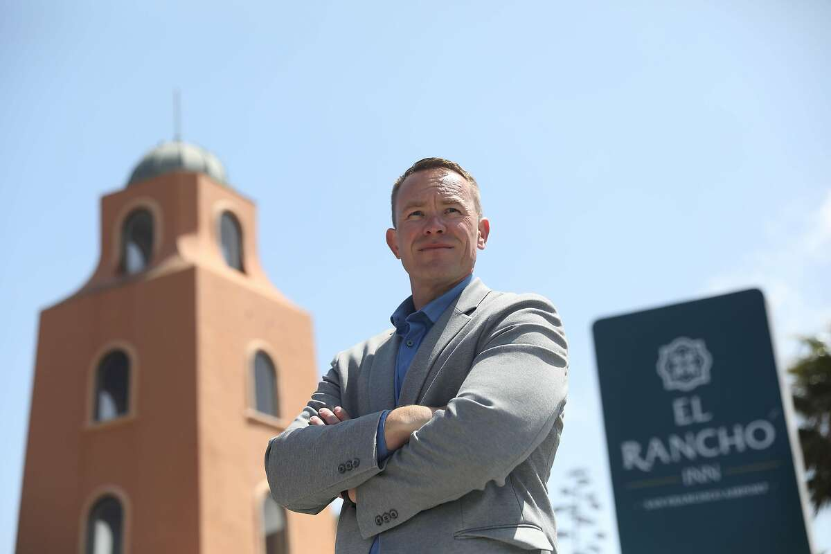 Andy Davidson, managing partner, development and construction at Anton DevCo, stands at the entrance to El Rancho Inn in Millbrae.