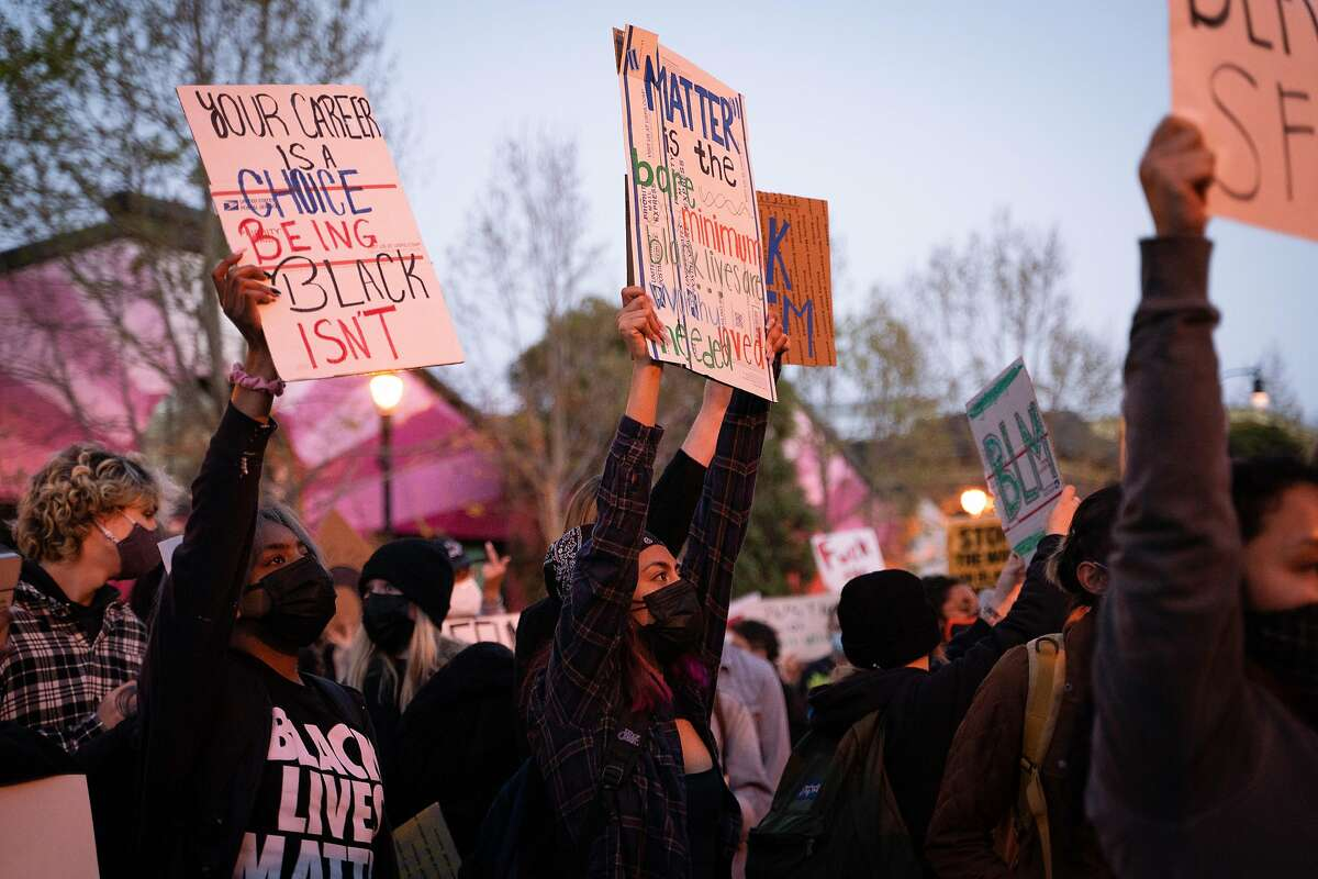 A protest in San Francisco Thursday over the police shootings of Daunte Wright in Minnesota and Roger Allen in Daly City.