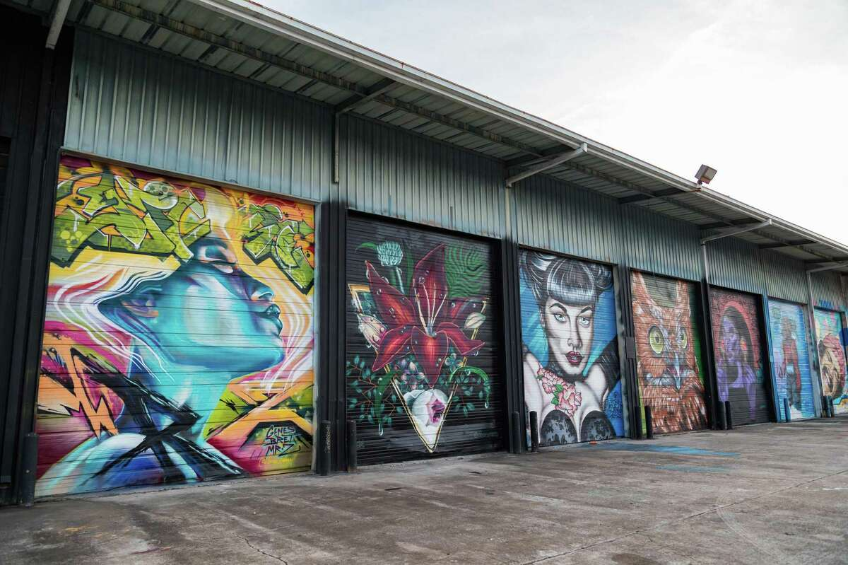 East End warehouses bear colorful murals.
