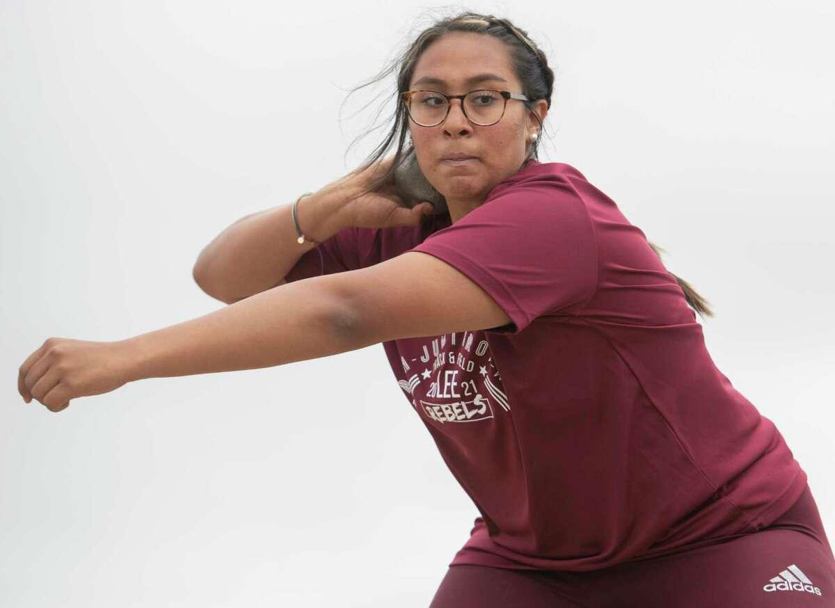 Lee High's Leah Acosta competes in the shot put 04/16/2021 at Ratliff Stadium in Odessa. Tim Fischer/Reporter-Telegram