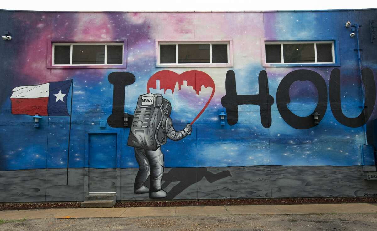 Space-themed mural at Social Beer Garden Friday, April 16, 2021, at Midtown in Houston.