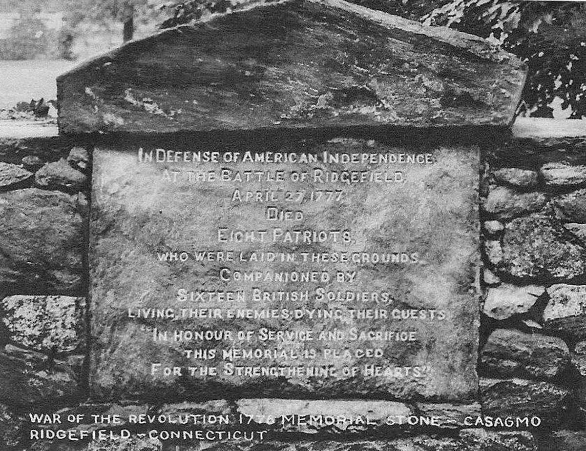 The principal skirmish of the Battle of Ridgefield took place near what today is the Casagmo condominium complex on the northern end of Main Street. A monument marking the event was erected by George M. Olcott in front of Casagmo - the site of the patriots' barricade.