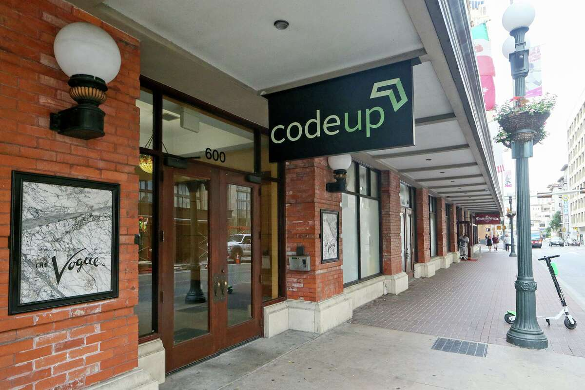 The street entrance to Codeup, a company downtown that offers coding bootcamps for aspiring software developers at 600 Navarro St. #350 on Tuesday, Sept. 25, 2018.