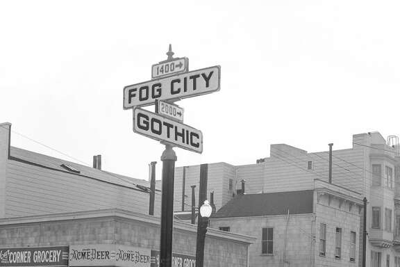 A Fog City Gothic street sign, made on Photoshop with use of a historic San Francisco neighborhood photo from Western Neighborhoods Project's OpenSFHistory site.