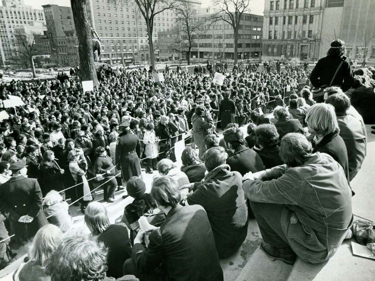 Gay-rights activists rally in Albany on April 17, 1972. (Times Union archive)