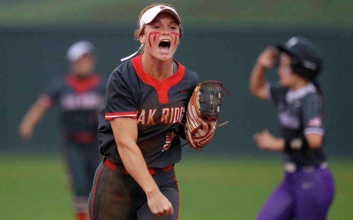 Oak Ridge shortstop Samantha Graeter (3) reacts after holding onto a 10-8 victory during a District 13-6A high school softball game at Willis High School, Friday, April 16, 2021, in Willis.