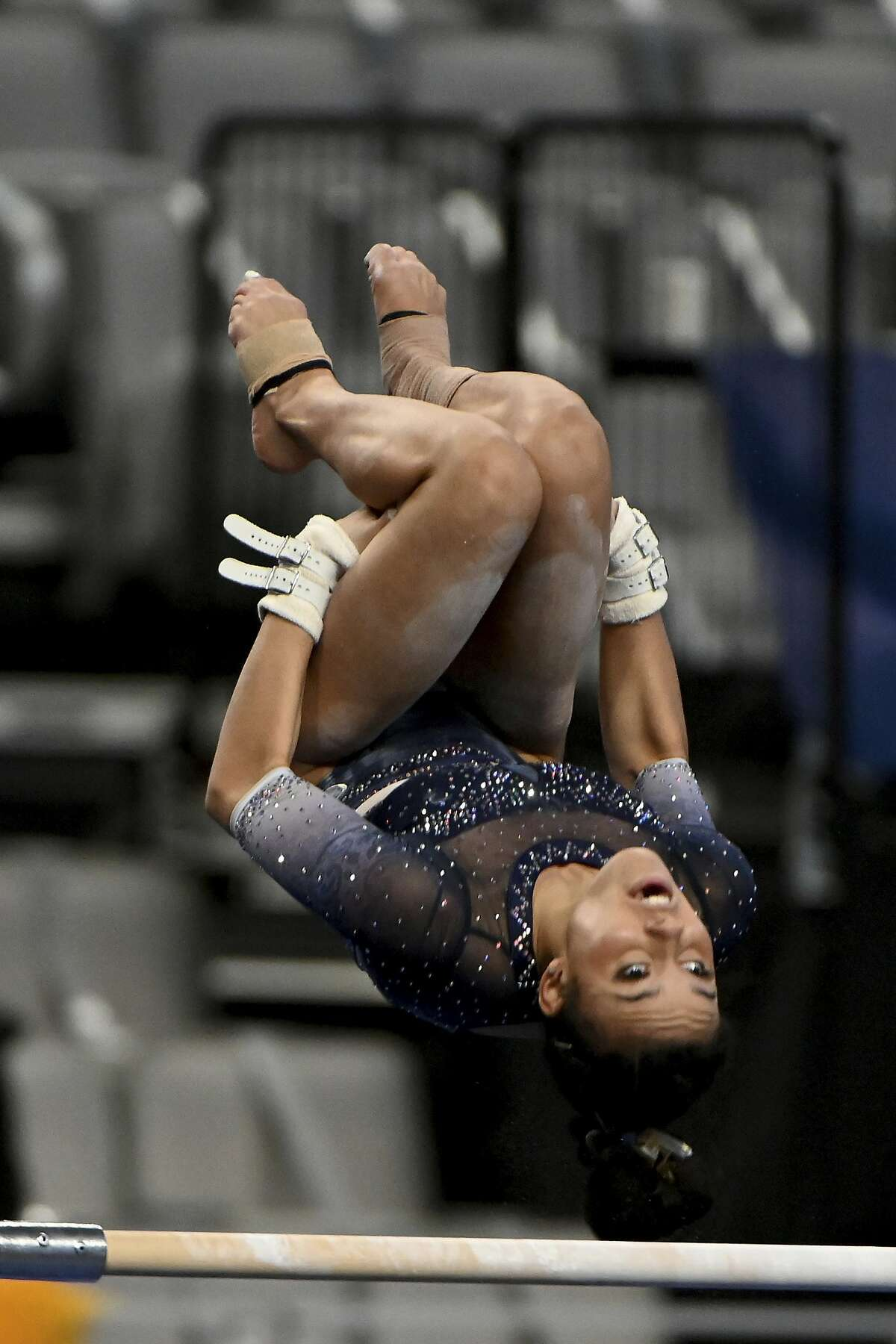 Cal's Maya Bordas goes through her championship routine on the uneven bars Friday at the NCAAs.