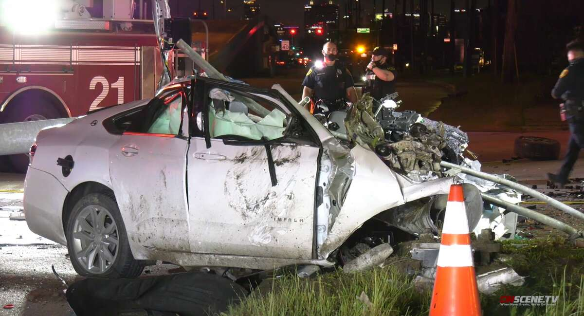 Crash outside a Houston Fire Department station, April 17, 2021, at 10515 Main St.