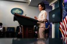 Secretary of Commerce Gina Raimondo speaks during the daily press briefing in the James Brady Room at the White House on April 7, 2021.