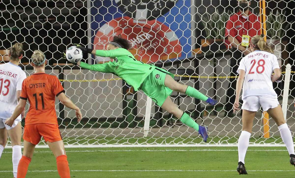 Goalkeeper Lindsay Harris, making a stop in the Challenge Cup, is confident in Dash making a move.