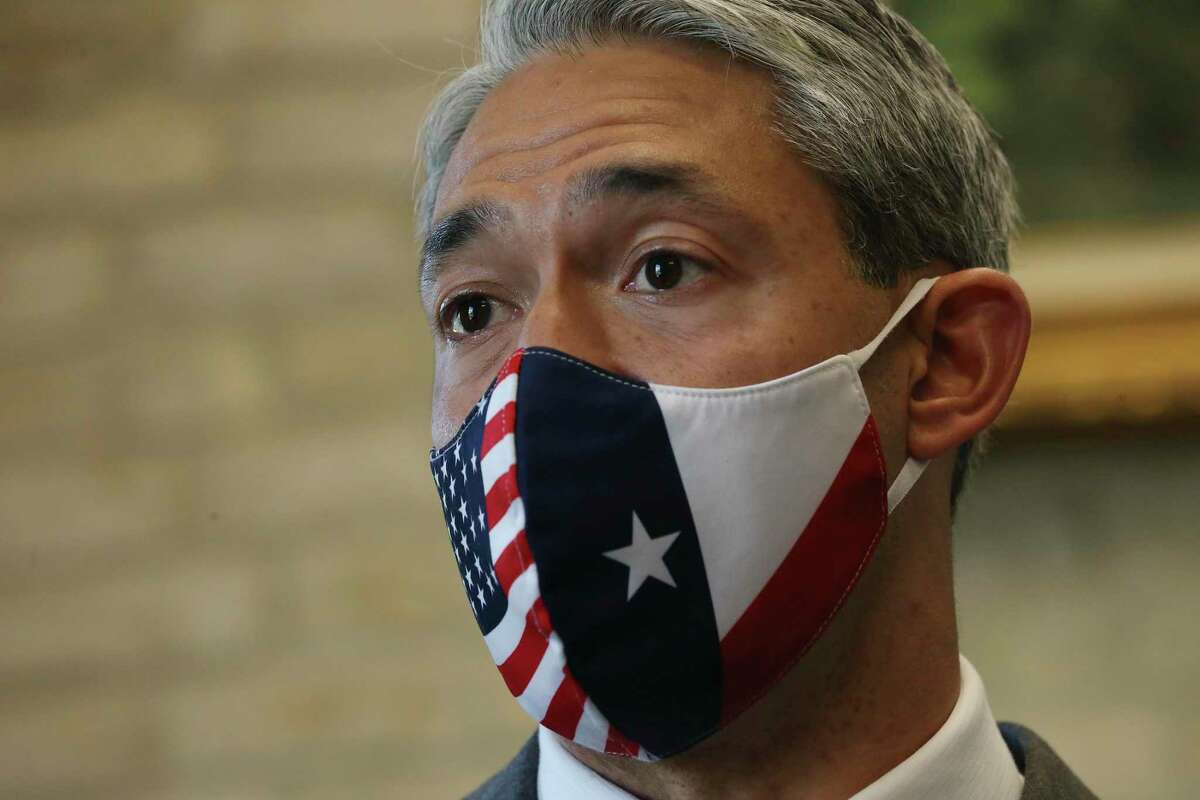San Antonio Mayor Ron Nirenberg speaks with media during a break in a B session meeting, Wednesday, April 7, 2021.