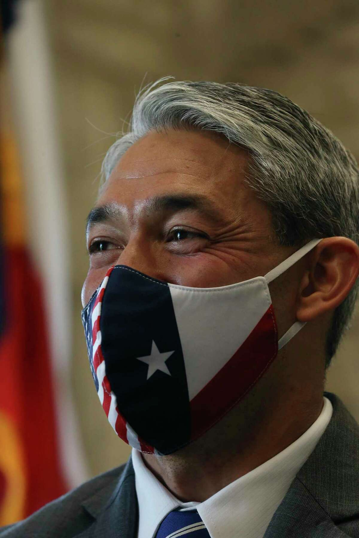 San Antonio Mayor Ron Nirenberg laughs during a break in a B session meeting, Wednesday, April 7, 2021.