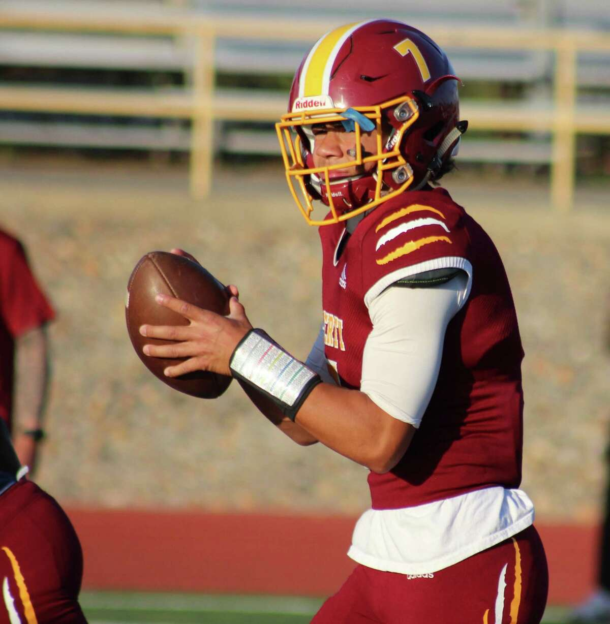 Liberty quarterback Nate Bell passed for 167 yards and a touchdown and ran 137 yards and a score in a win over Heritage on Friday night.