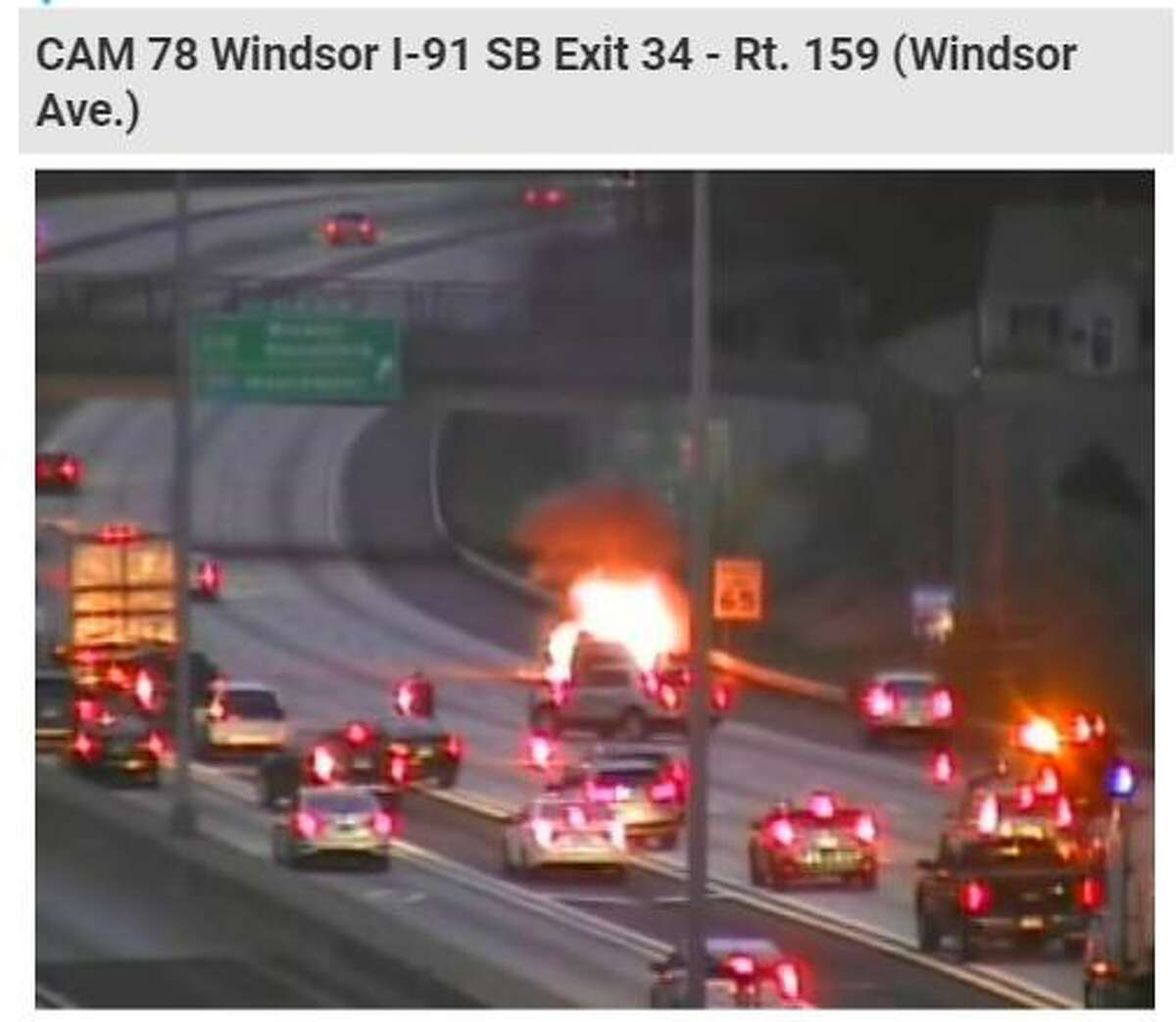 WINDSOR - Flames engulfed a vehicle on the northbound side of I-91 Saturday, April 17, 2021.