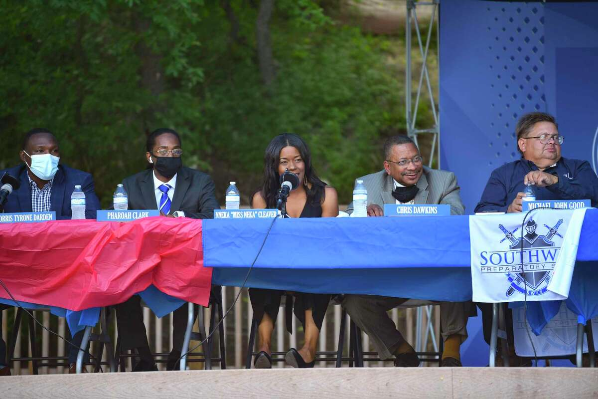 City Council District 2 candidates, from left, Norris Tyrone Darden, Pharaoh Clark, Nneka Cleaver, Chris Dawkins and Michael John Good participate in the D2 Presidents Round Table at Southwest Preparatory School on Wednesday, April 14, 2021. The candidates discussed what they could accomplish if elected.