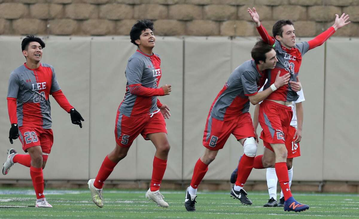 SA Lee's Henry Bowland (23) celebrates with teammates after scoring a goal against Rockwall-Heath during their UIL 6A boys State championship soccer game at Birkelbach Field on April 17, 2021 in Georgetown, Texas.