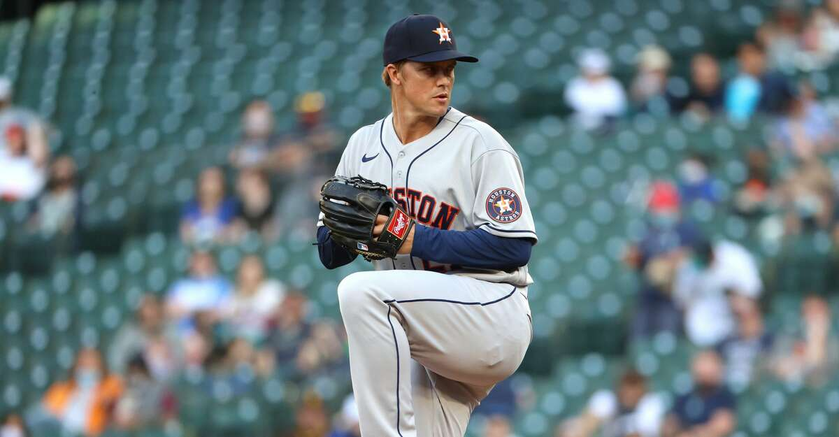 Zack Greinke #21 of the Houston Astros pitches during the first inning of the MLB game against the Seattle Mariners at T-Mobile Park on April 17, 2021 in Seattle, Washington. (Photo by Abbie Parr/Getty Images)