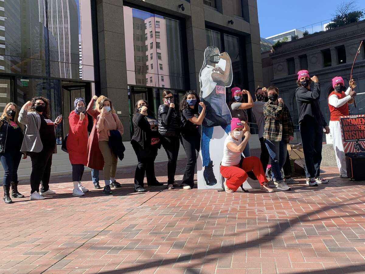 Women in the service industry hold a self-defense training and rally outside Sen. Feinstein's office in downtown San Francisco in March of 2021, calling for the passage of the 'Raise the Wage' act while highlighting circumstances restaurant workers face as tipped employees.